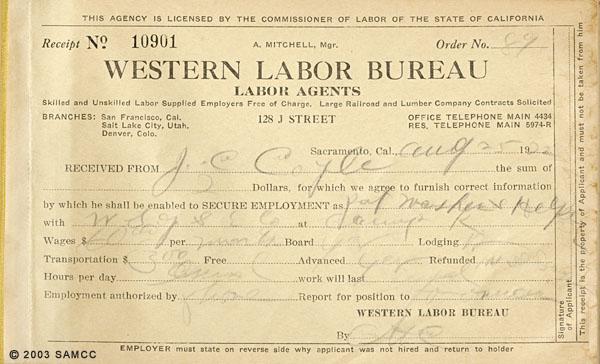Western Labor Bureau, Labor Agents Receipt Book