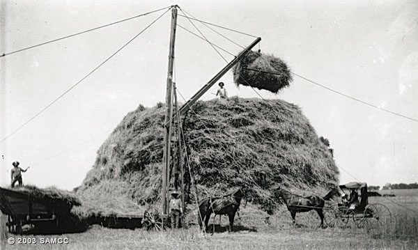 Wheat derrick and hay stack