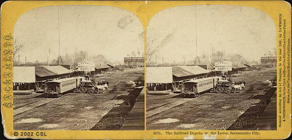Railroad Depots on the Levee, Sacramento City. 1074.