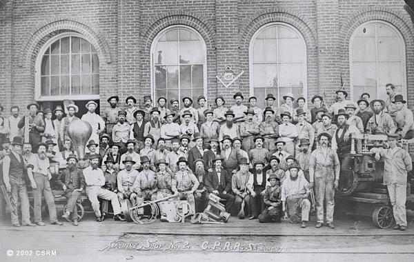 [Group portrait of Central Pacific Railroad Sacramento Shops employees: Machine Shop]