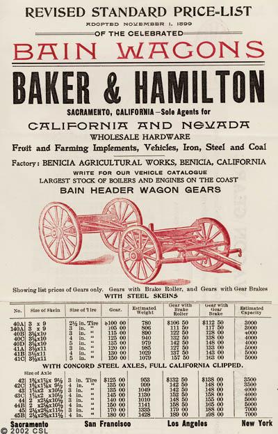 Revised Standard Price List...Bain Wagons