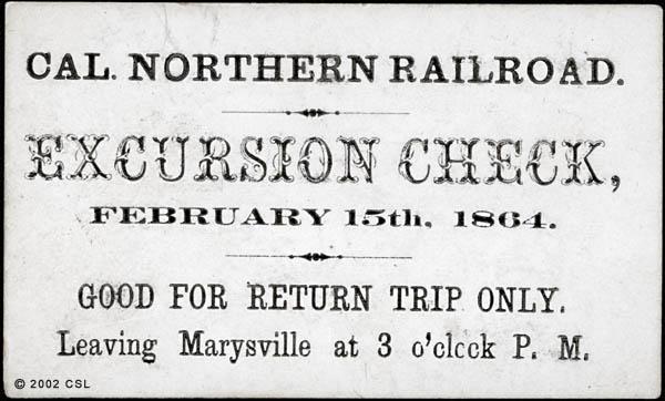Cal. Northern Railroad. Excursion Check