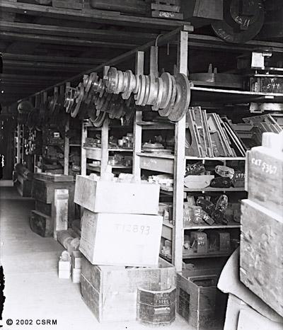 [Southern Pacific Railroad Sacramento Shops complex: interior view of pattern storeroom]