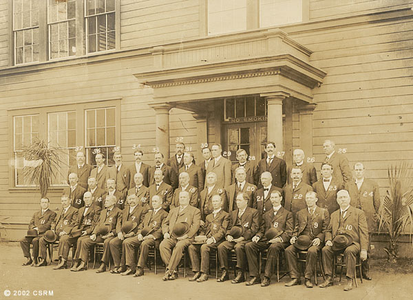 [Group portrait of Southern Pacific Railroad Sacramento Shops employees: department heads]