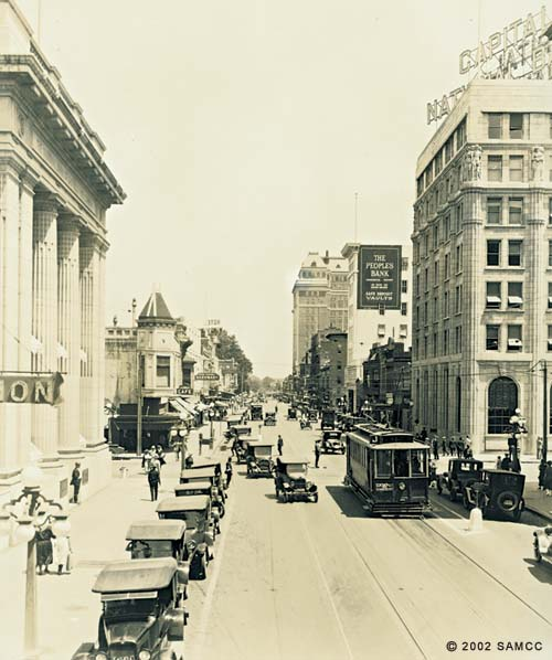 Looking East on J St., Sacramento, showing bank buildings : photographic print