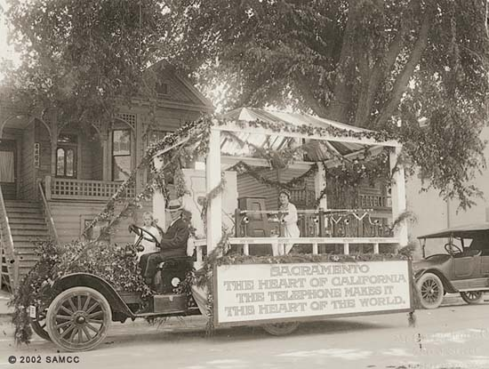 Pacific Telephone and Telegraph Company automobile parade float