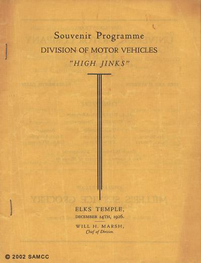 Souvenir programme : high jinks, 1926 Dec. 14 / Division of Motor Vehicles