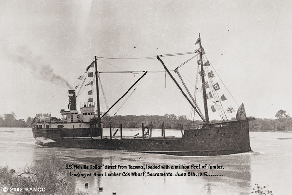 S. S. Melville Dollar direct from Tacoma, loaded with a million feet of lumber, landing at Knox Lumber Co.