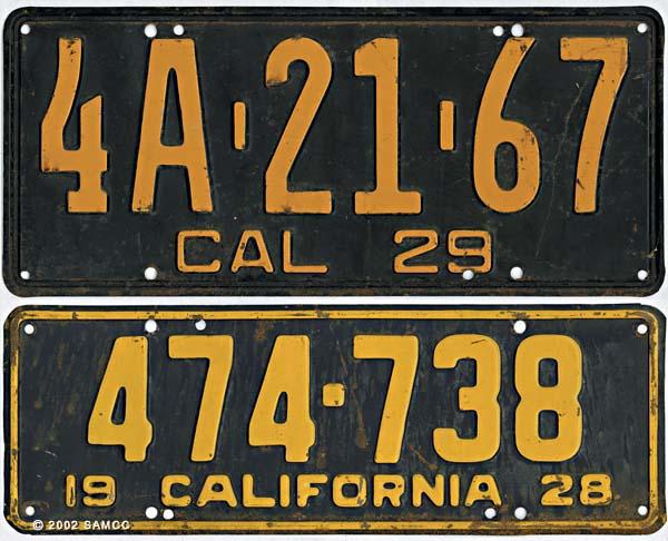 California State automobile license plates