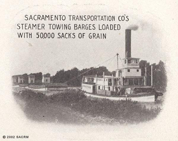 [Steamer towing barges - Sacramento River]
