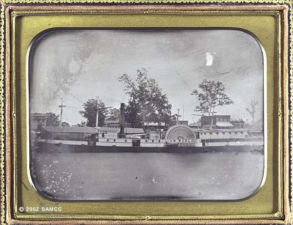 Daguerreotype of the New World steamer at Sacramento waterfront