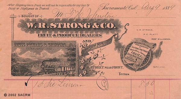 [W. R. Strong & Company Billhead]